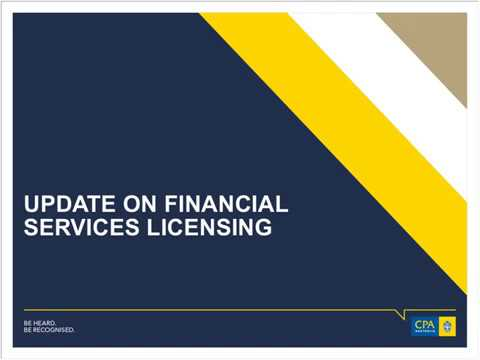 Update on financial services licensing