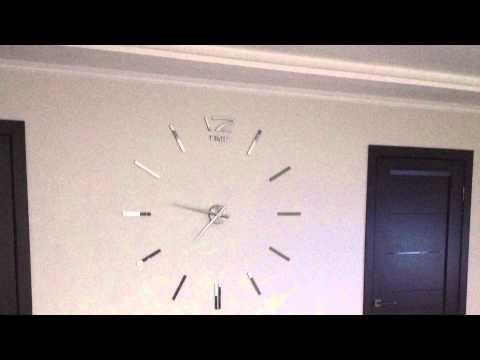 Большие настенные часы 3d зеркальные