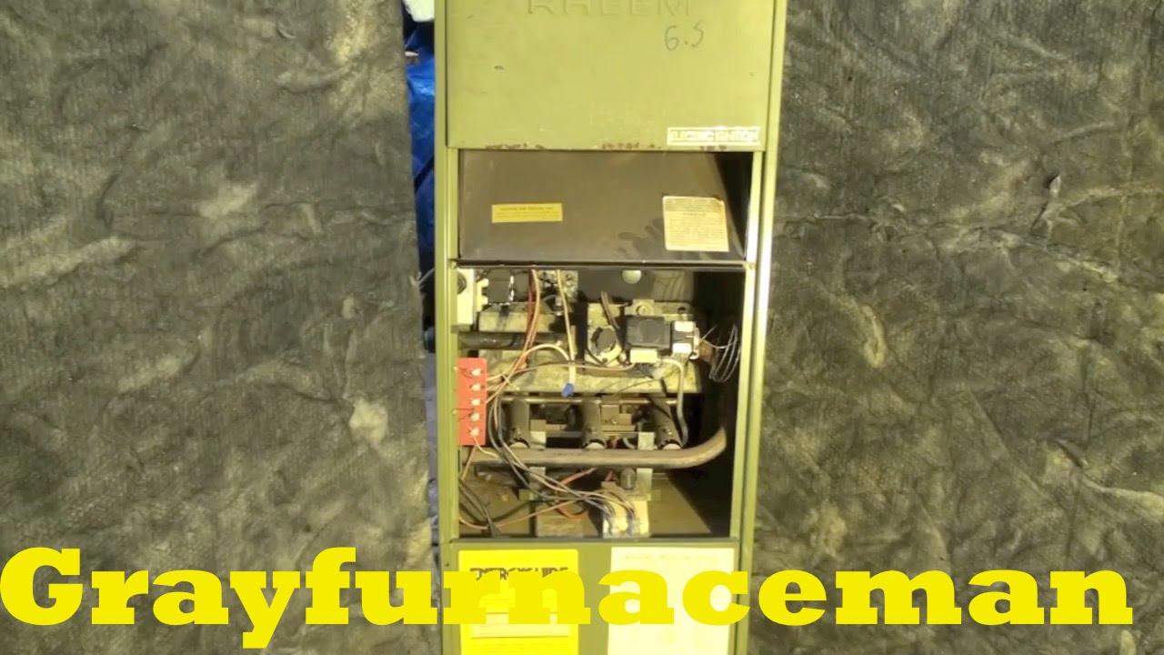 Rheem model RDGA electric ignition gas furnace - YouTube