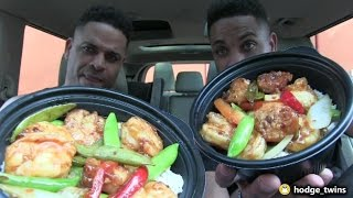Eating Panda Express Spicy Shrimp Bowl | Food Review | @hodgetwins