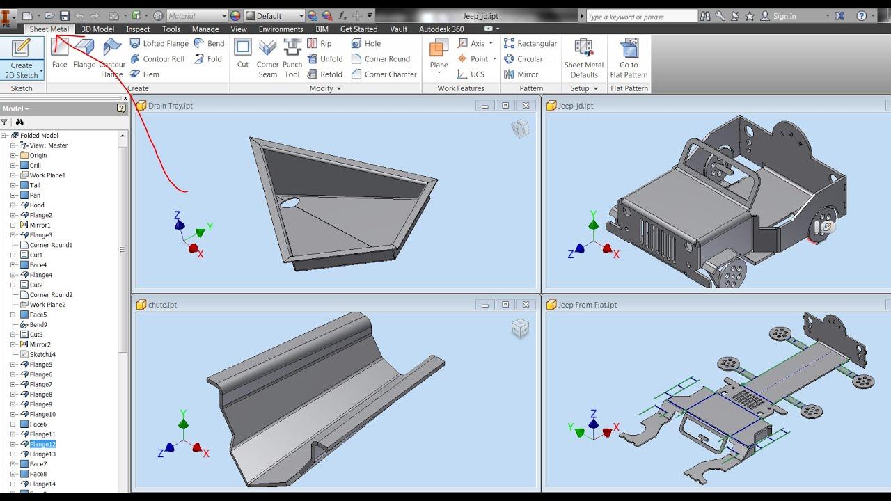 Entorno de sheet metal en Autodesk Inventor 2015 - YouTube