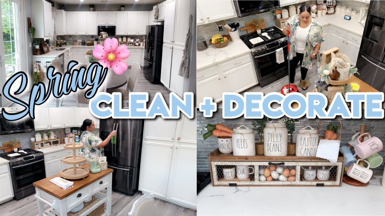 SPRING CLEAN + DECORATE WITH ME | NEUTRAL FARMHOUSE KITCHEN DECOR | CLEANING MOTIVATION
