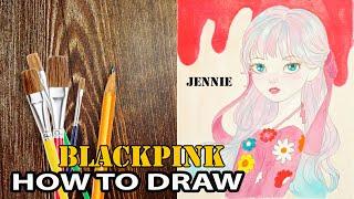 Draw Jennie (BLACKPINK) Cute Version - How To Draw