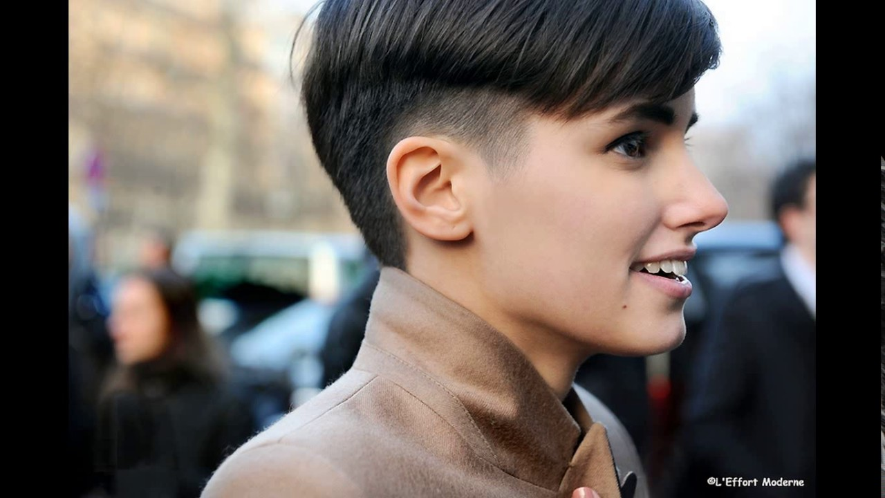 Ultra short haircut girl - YouTube