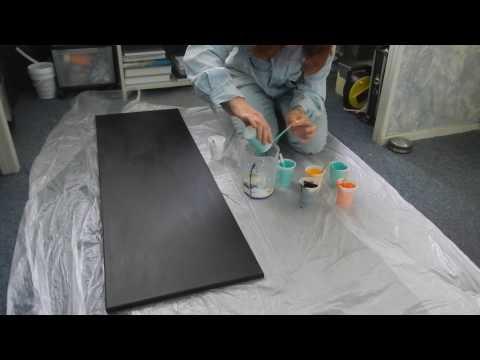 ( 049 ) Acrylic pouring 120cm x 40 cm negative space