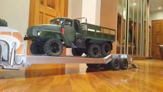 kraz 255b and trailer chmzap 5247g 1 10 6 разгрузка с полуприцепа ural 4320
