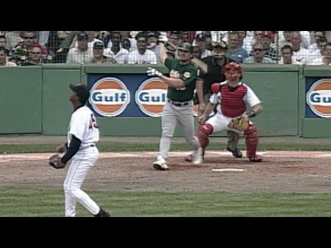 Giambi hits a three-run homer off Pedro