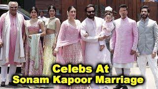 Bollywood Celebs At Sonam Kapoor Marriage | Saif,Kareena,Taimur,Boney,Janhvi,Karan,Harshvardhan