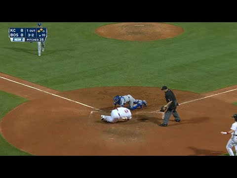 Leon avoids the tag to score the walk-off run
