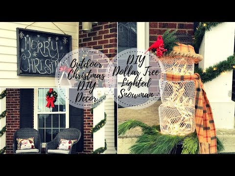 OUTDOOR CHRISTMAS PORCH DIY DECOR CHALLENGE|DIY DOLLAR TREE LIGHTED SNOWMAN|