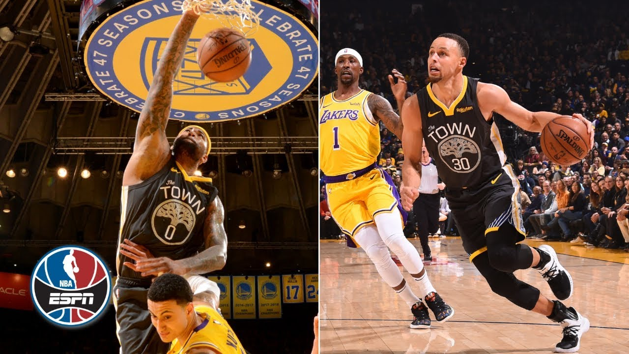 c564c2c93 Warriors rally to beat Lakers thanks to Curry s 4th quarter   Boogie s  hammer dunk