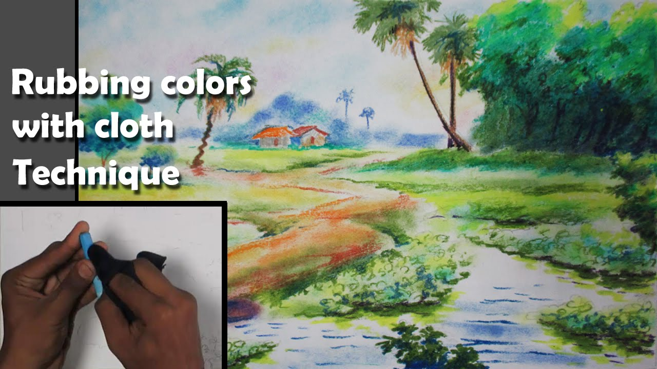 Landscape Drawing Tutorial  Rubbing Oil Pastel With Cloth Technique   Epi23  Youtube