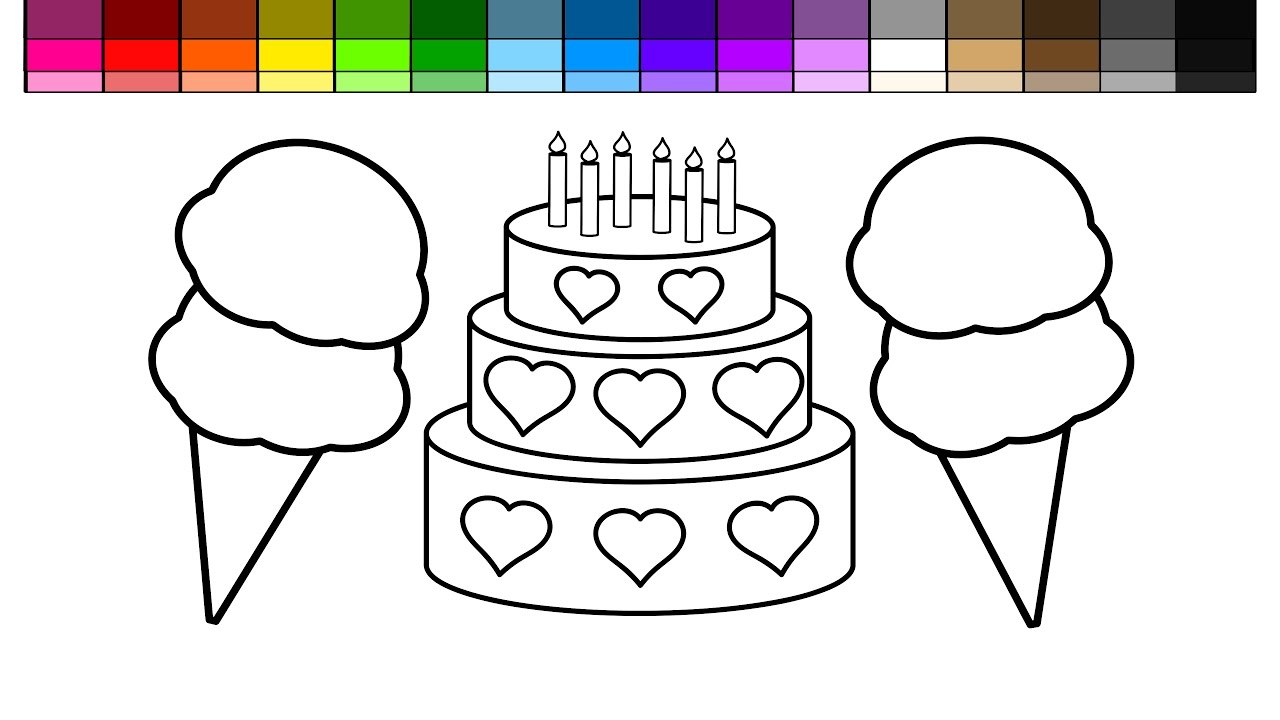 Learn colors for kids and color heart layered cake with for Double heart coloring pages