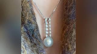 15mm 해수진주 & 마퀴즈 컷 다이아몬드 핸드…