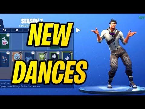 ALL *NEW* SKINS & DANCE/EMOTES SEASON 7! Fortnite Battle Pass