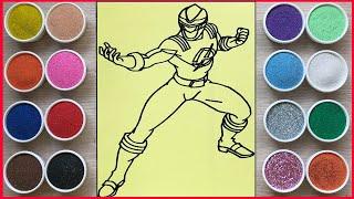 Đồ chơi trẻ em, tô màu tranh cát siêu nhân Gao đỏ - Sand painting power rangers tosy (Chim Xinh)
