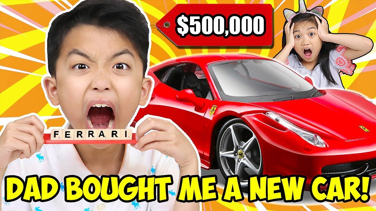 I Ll Buy Whatever You Can Spell Challenge Dad Bought Me A New Ferrari Jk Slime Kids Video Youtube