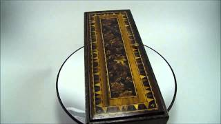 Antique 19th Century Tunbridge Ware Rosewood Glove Box Inlaid Flower Mosaic 2