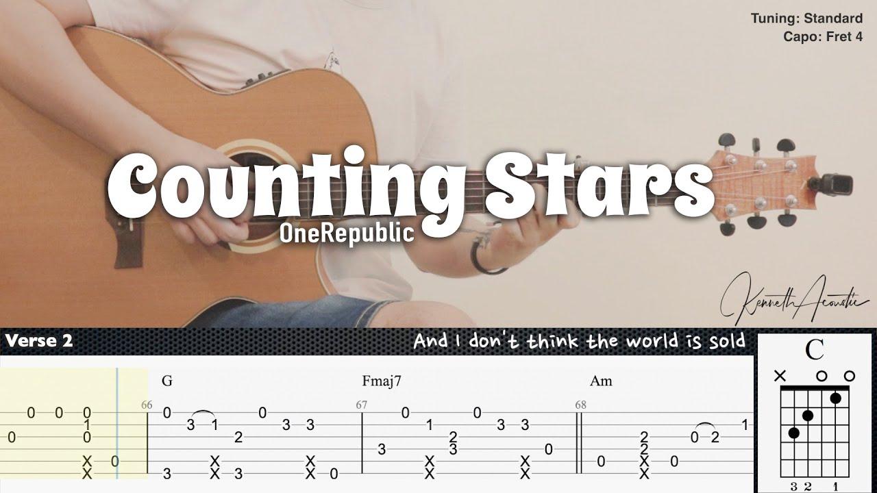 Counting Stars - OneRepublic   Fingerstyle Guitar   TAB + Chords + Lyrics