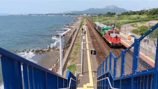 """""""風っこ""""号が北海道へ! 来たので…、古参国鉄色DE15大活躍! Old Diesel loco typeDE15,Muroran & Hakodate line,Hokkaido,Japan"""