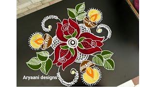 Diwali special rangoli..deepam kolam..simple rangoli..5to3 dots..rose rangoli