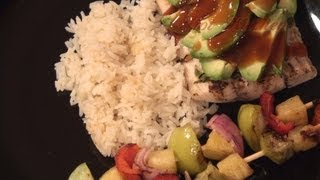 28. Polynesian Mahi-mahi, Coconut Rice And Vegetable Skewers, Paper Wrapped Scallops