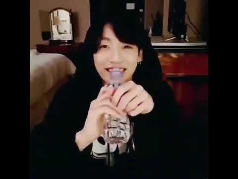 Jungkook drinking water like a cute lil baby