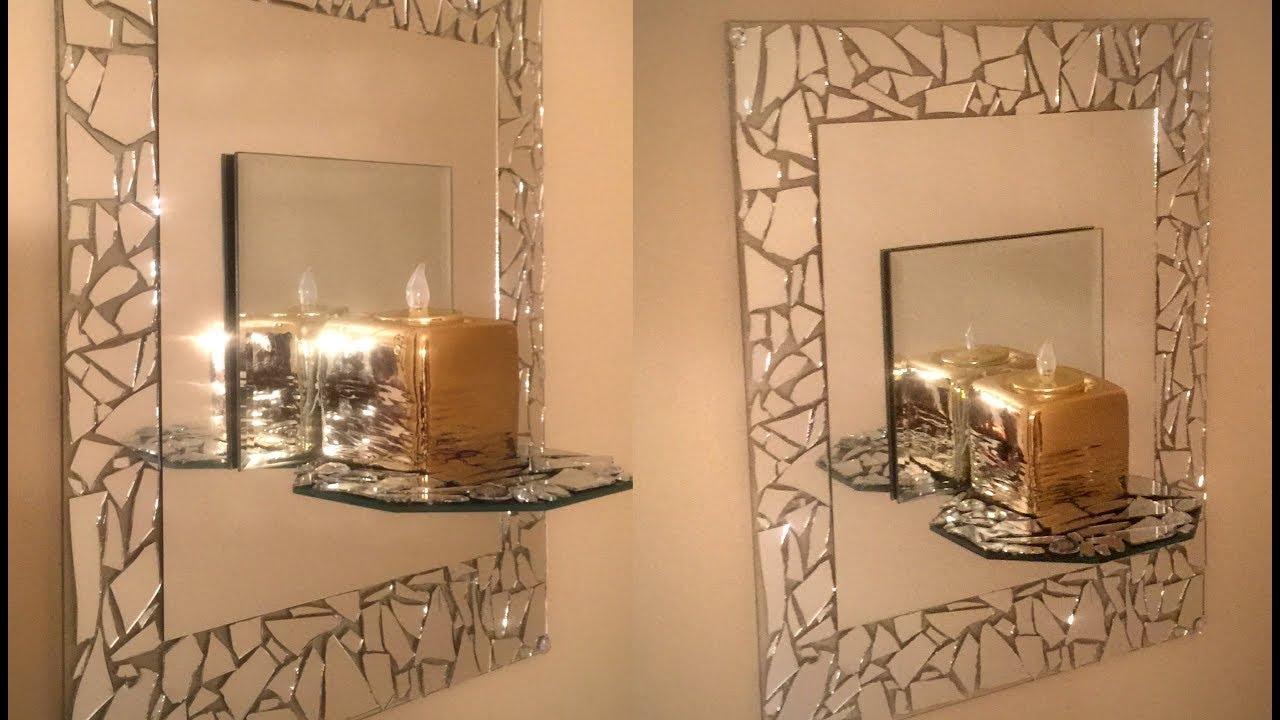 Dollar Tree Diy 💕mosaic Mirrored Wall Sconce 💕 Youtube