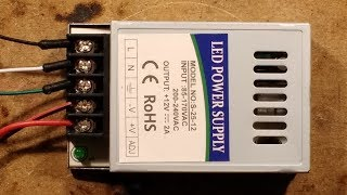 Inside a cheap eBay LED power supply.  (With arcing flaw.)