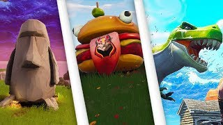 Visit a giant Durr Buger, Stone Head and Dinosaur - Fortnite Roadtrip Challenges