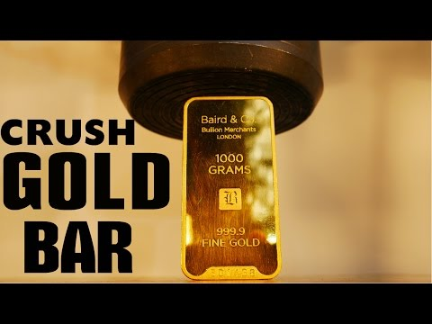 Crushing $40,000 GOLD BAR with Big Hydraulic Press!