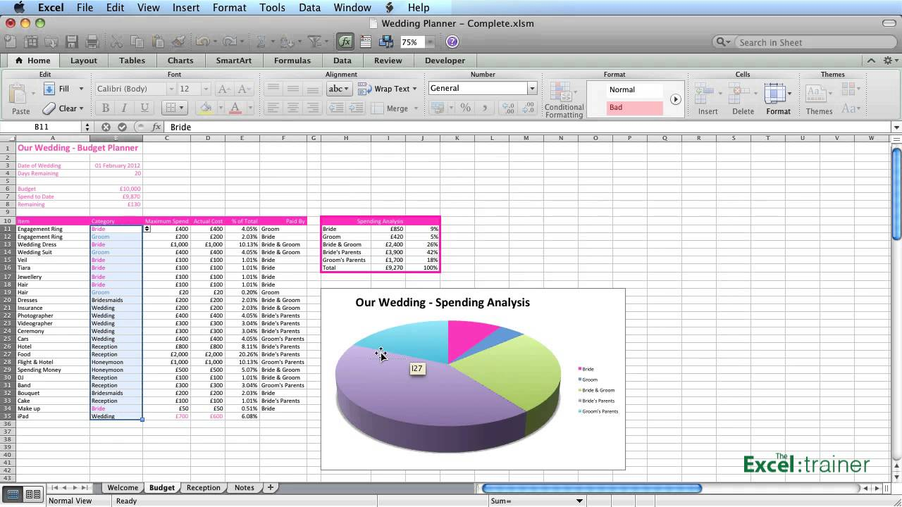 Excel Creating A Wedding Planner