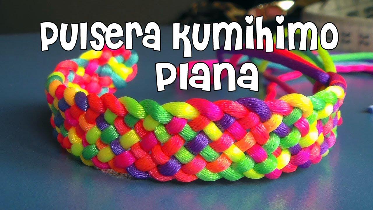 DIY pulsera kumihimo plana / DIY Kumihimo bracelet - YouTube