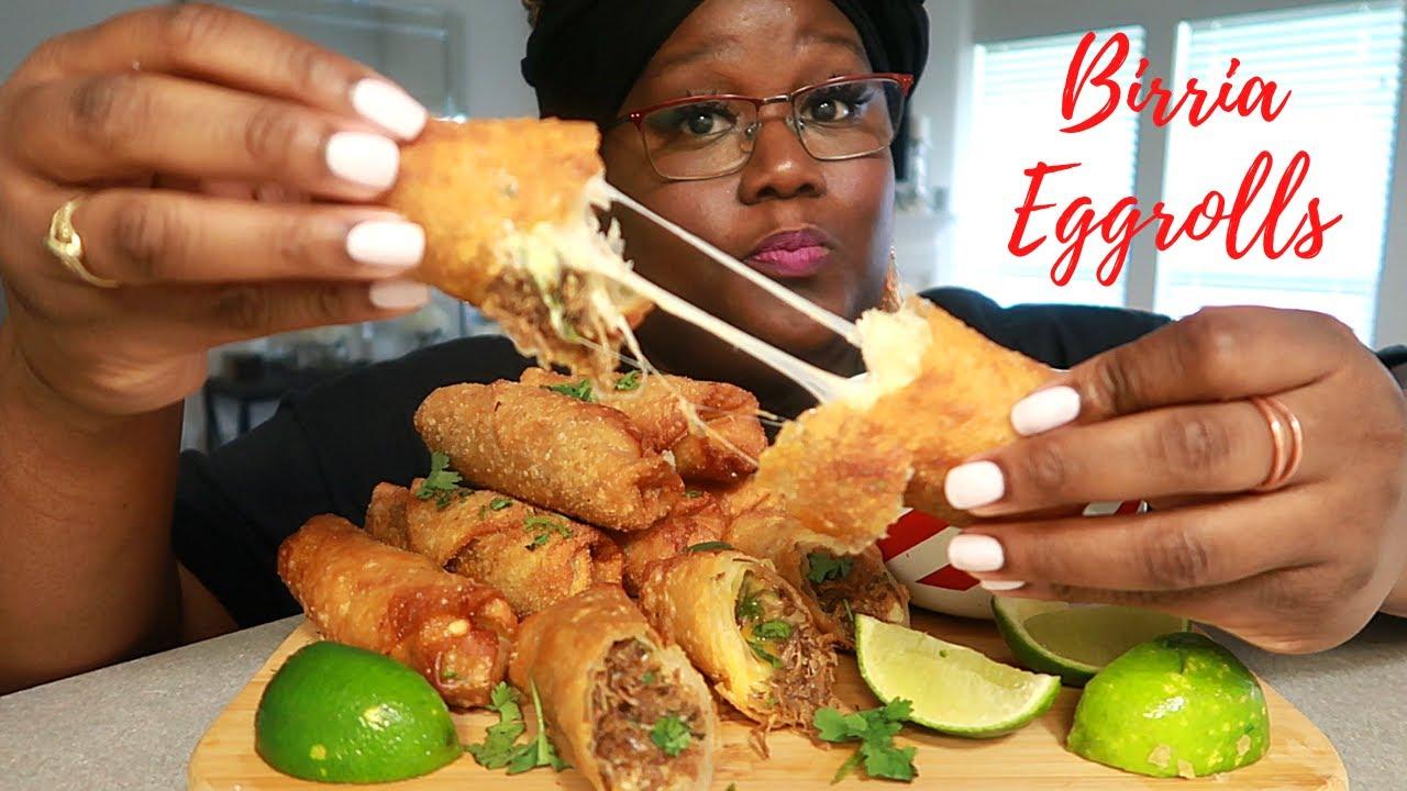 BIRRIA EGGROLLS RECIPE + MUKBANG | Asmr 실제 요리 소리