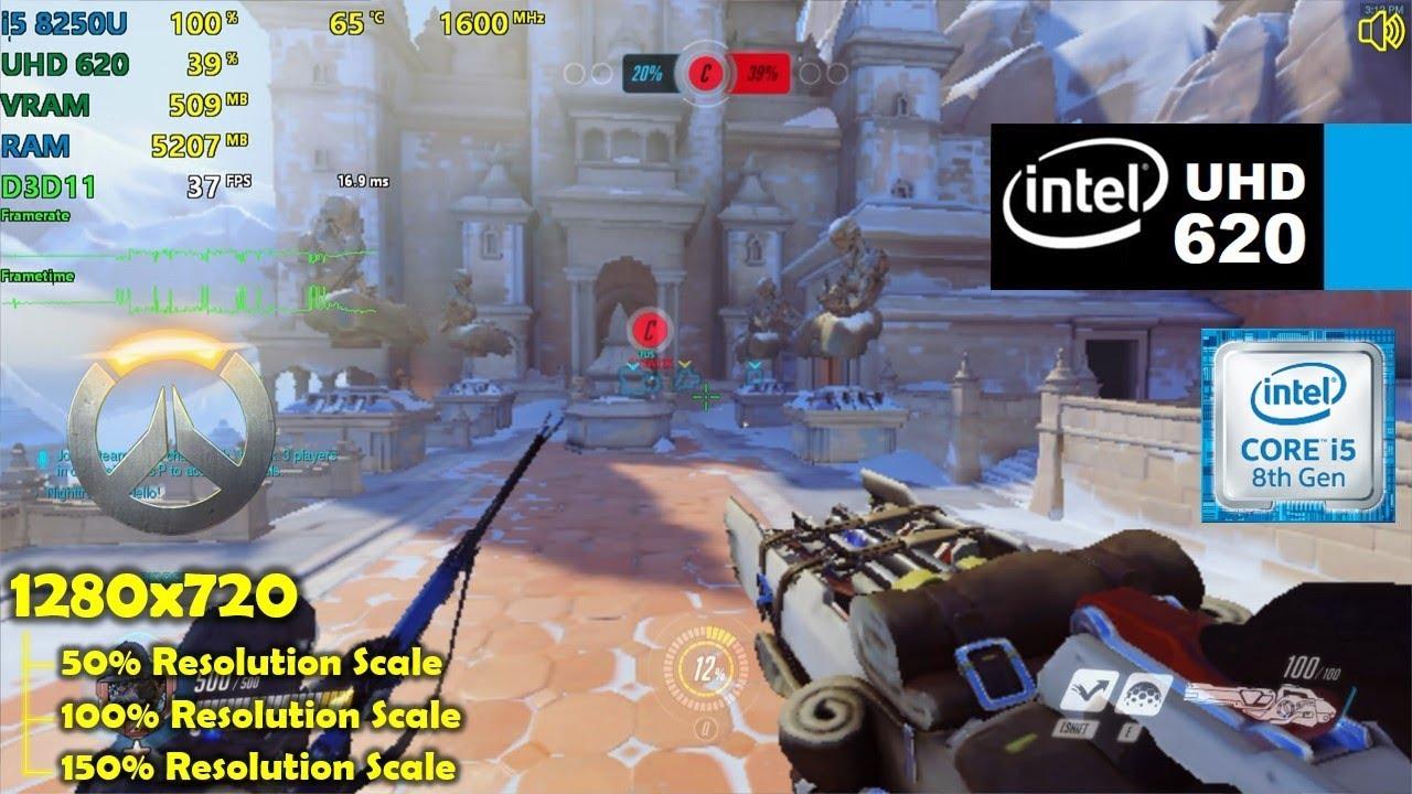 intel UHD 620   Overwatch - 720p 50%, 100% & 150% Resolution Scale