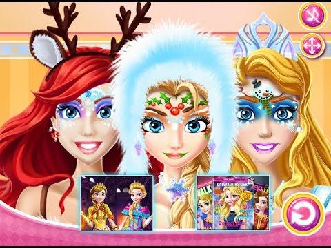 NEW мультики для девочек про принцесс—Детский новогодний макияж—Игры для детей/Christmas Face