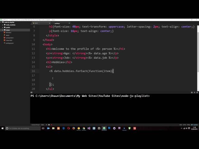 Node JS Tutorial for Beginners #26 - Template Engines ( part 2 )