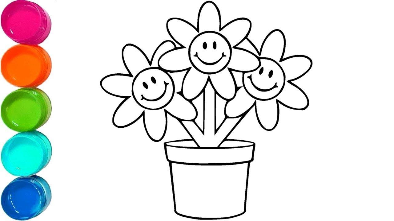 How to Draw and Color Flower Pot - Cute Coloring Pages - Video for ...