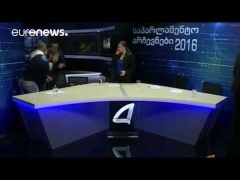 Brawl erupts between Georgian parliamentary candidates on live TV