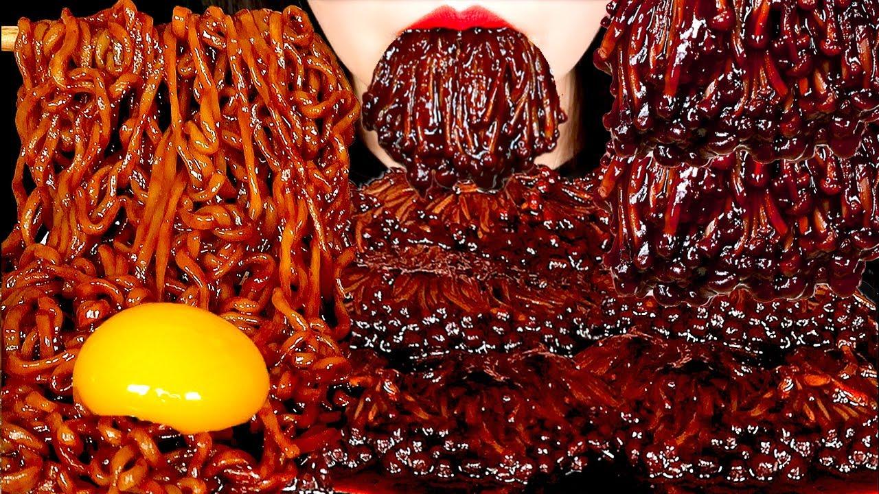 ASMR BLACK BEAN ENOKI MUSHROOMS, TRUFFLE BLACK BEAN NOODLES 짜장팽이버섯, 트러플짜파게티 먹방 EATING SOUNDS MUKBANG