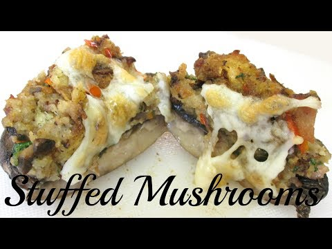 Stuffed Portobello Mushrooms - Breading, Bell Pepper, Bacon and cheese - PoorMansGourmet