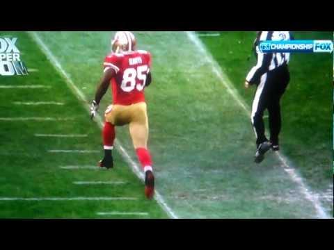 49ers Vernon Davis tightrope sideline touchdown and excessive celebration 1.22.12