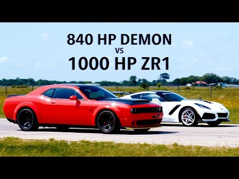 840 HP Dodge Demon vs 1000 HP Hennessey ZR1 Corvette Roll Racing