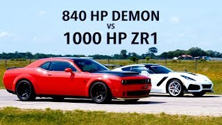 840 HP Dodge Demon vs 1000 HP Hennessey ZR1 Corvette Roll Racing