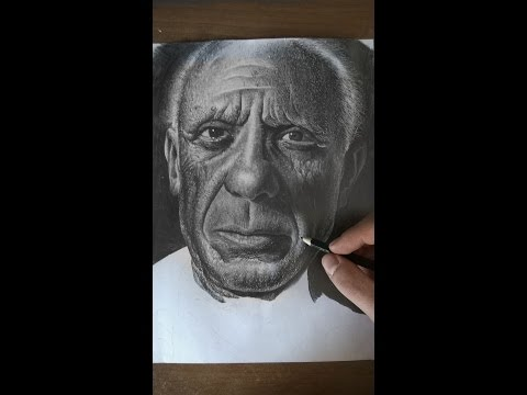 Pablo Picasso Hyperrealistic portrait pencil art ( speed drawing )