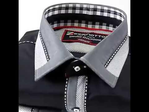 Мужская однотонная приталенная рубашка MM 1937-2 TM Zerbinotto