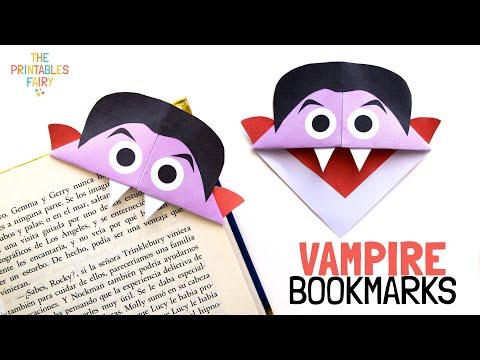 How to Make Vampire Corner Bookmark - Halloween origami for kids