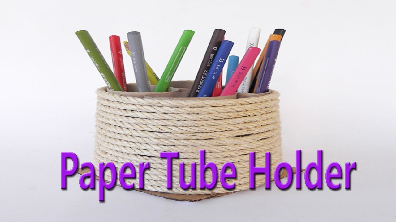 Hand made beautiful paper tube holder best from waste for Best from waste material