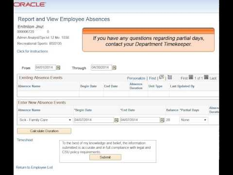 Employee Absence Entry: Absence Management