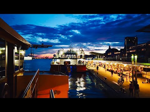 [4K] ASMR Boat Tour at Night in Hamburg Germany 2020 - Landungsbrücken to Elbstrand